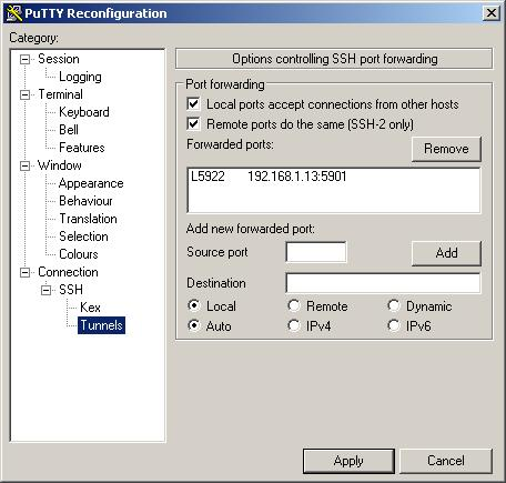 Using Putty to securely make your VNC connections  ---- May 2007
